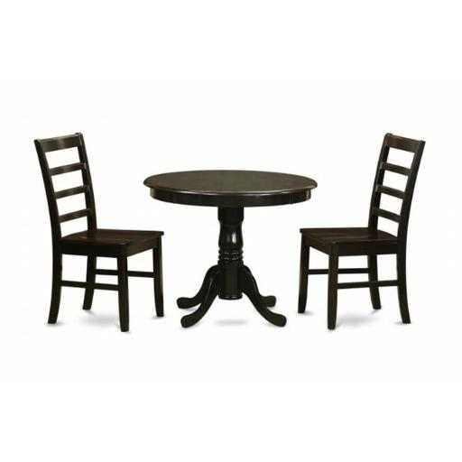 East West Furniture ANPF3-CAP-W 3 Piece Small Kitchen Table Set-Small Kitchen Table Plus 2 Kitchen Dining Chairs