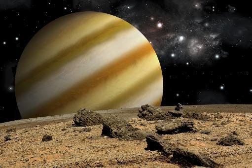 An artist's depiction of the view from a rocky and barren alien world. A large cloud covered planet rises over the airless environment. Poster Print