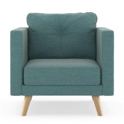 NyeKoncept 50200350 Kennedy Armchair Linen Weave - Stone Blue with Natural Finish