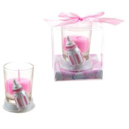 DDI 1765886 Baby Bottle Poly Resin Candle Set - Pink Case of 48 1765886