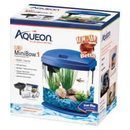 Aqueon 100528787 blue aqueon minibow led aquarium kit 1 gallon blue 8.5 x 6.25 x 9.25
