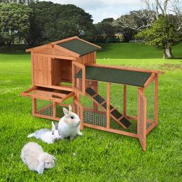 Yescom 2-Story Wooden Rabbit Hutch Fir Wood Pet Cage with Run Asphalt Roof Heat Protection Bunny House Small Animal
