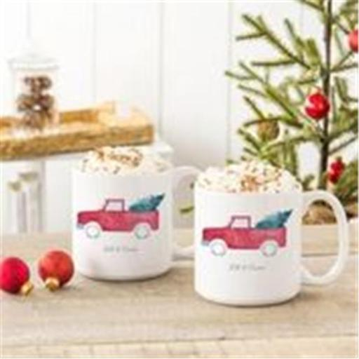 Cathys Concepts H17-3900TKST 20 oz Christmas Tree Truck Large Coffee Mugs - Set of 2