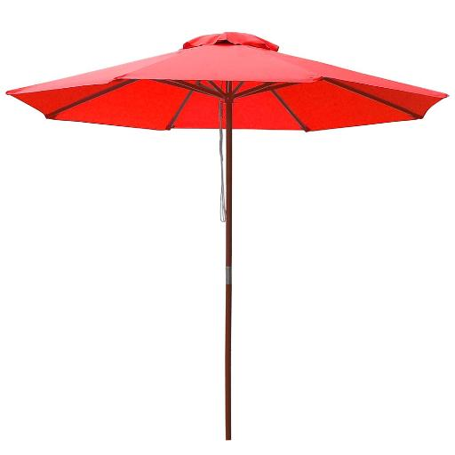 Yescom 9ft Wooden Outdoor Patio Red Umbrella W/ Pulley Market Garden Yard Beach Deck Cafe Sunshade