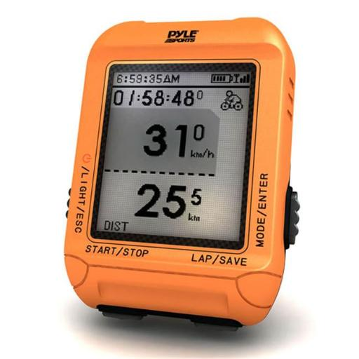 Pyle PSBCG90OR Multi-Function Digital LED Sports Bicycling Computer Device with GPS Navigation & ANT+ Technology - Orange Color