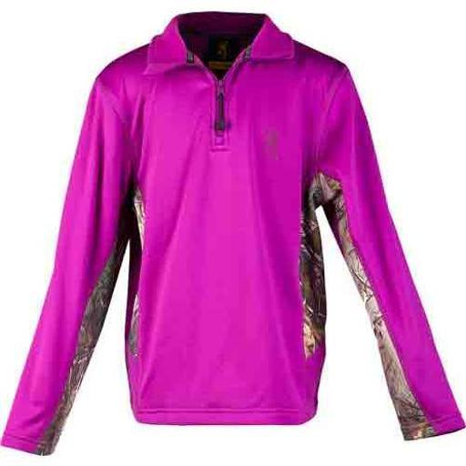 BROWNING BRI8009293L BG YOUTH'S L.SLEEVE PULLOVER 1/4 ZIP LG PURPLE WINE/CAMO thumbnail