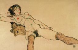 Reclining nude with legs spread apart 1914 Poster Print by  Egon Schiele PPHPDA69492LARGE
