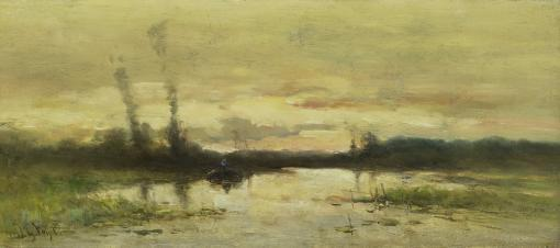 Landscape At Hilversum, By Johannes Gijsbert Vogel, 1880-1915, Dutch Painting, Oil On Canvas. Marsh With A Boat Near Sunset Or Sunrise. Poster Print
