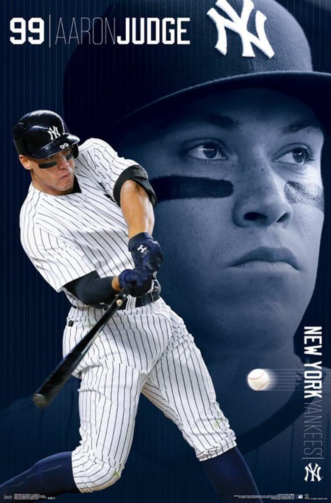 """Aaron Judge New York Yankees Wall Poster 99 MLB Baseball 22.375"""" x 34"""" Home Runs"""