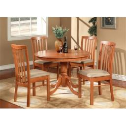 East West Furniture HART3-CHR-C 3 -Piece Hartland Table 42 in. Round Table and 2 Microfiber Upholstered seat Chairs - Light Cherry Finish