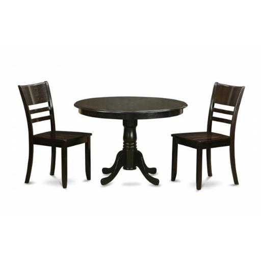East West Furniture HLLY3-CAP-W 3 Piece Small Kitchen Table and Chairs Set-Kitchen Table and 2 Kitchen Chairs