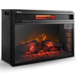 """DELLA 26"""" Infrared Fireplace Insert Stove with Glass View and Remote Control Timer Settings, Black"""