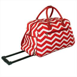 All-Seasons 8112022-165RW 21 in. ZigZag Collection Carry-On Rolling Duffel Bag, Red White