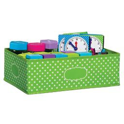 Teacher created resources medium lime polka dots storage bin 20819