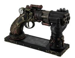6 Barrel Decorative Steampunk Pistol Statue w/Gauntlet Display Stand