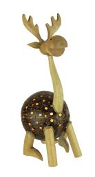 Rustic Moose Wood and Coconut Shell Accent Lamp