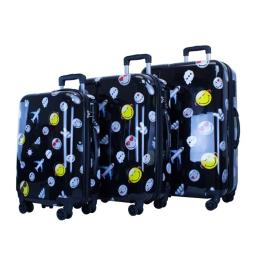 Atm Luggage 4020-22 22 In. Smiley World Happy Travel Luggage, Black