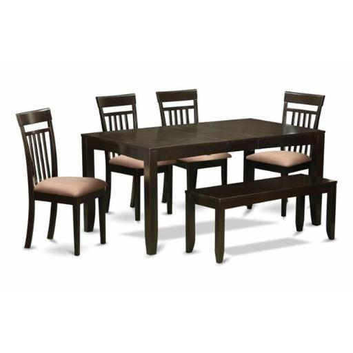 East West Furniture LYCA6-CAP-C 6 Piece Kitchen Table With Bench-Kitchen Tables With Leaf and 4 Kitchen Dining Chairs Plus Bench