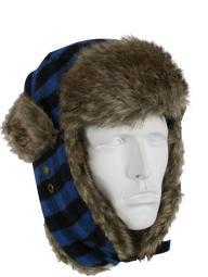 New, Vintage Flyers Winter Hat, Blue Plaid w/GreyFur
