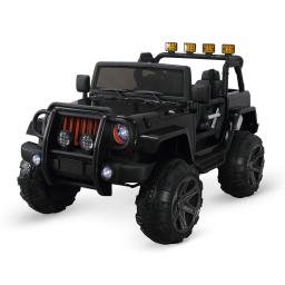 Kidzone Kids Ride on Car 12V Electric Car for Kids with Remote Control/ 3 Speeds/ Leather Seat/ Head Lights (Black)