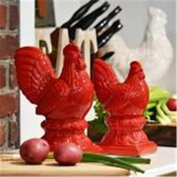 Urban Trends Collection 43157 Stoneware Rooster Figurine on Pedestal, Red - Set of 2