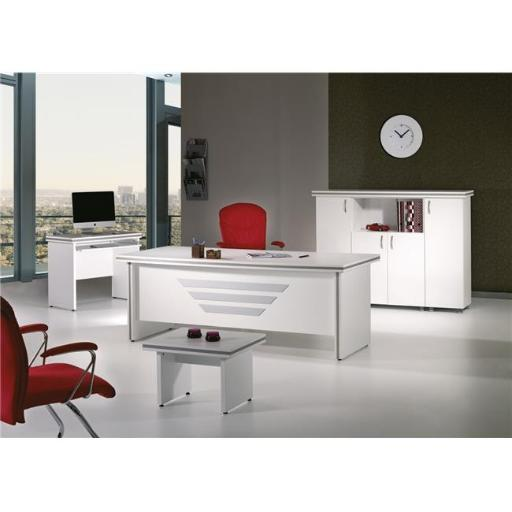 Home Designer Goods NEWSTAR-79W-S 79 in. Modern New Star Desk Office Suite Furniture Set - White, 5 Piece