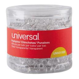 Universal Office Products 31306 0.38 in. Plastic Clear Push Pins, 400 per Pack