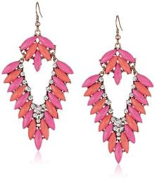 Gold Tone, Pink and Peach Stones V Shape Earrings