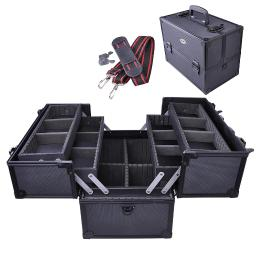 """AW 14""""x8""""x10"""" 2 Extendable Tiers Cosmetic Makeup Train Case Aluminum Storage Lock Jewelry Black"""