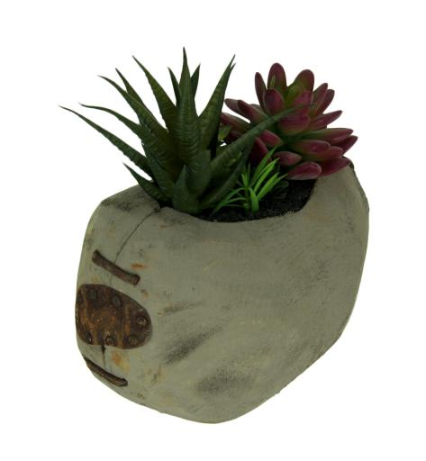 Artificial Succulent Garden in Rustic Grey Wood Planter