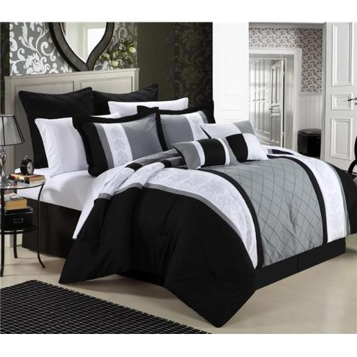Chic Home 35CK112-US Livingston Embroidered Comforter Set - Black - King - 8 Piece