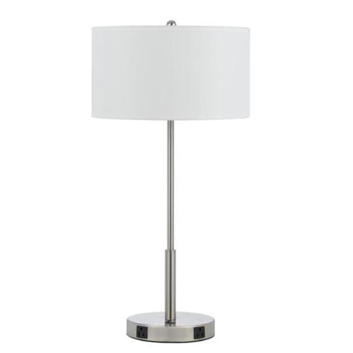 Cal Lighting LA-8019NS-1-BS 60W Metal Night Stand Lamp with Rocker Switch and 2 Outlets - 27 in.