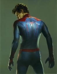 Andrew Garfield in a Spiderman Costume Looking Back in Gray Background Photo Print GLP461449LARGE
