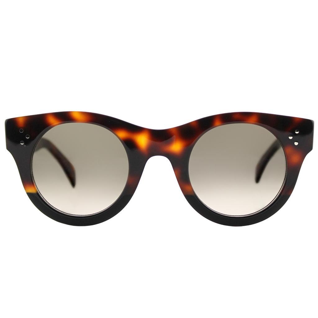 901a65a95a5d4 Celine Celine Alia CL 41425 AEA Havana Black Plastic Round Sunglasses Brown  Gradient Lens