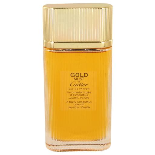 Must De Cartier Gold by Cartier Eau De Parfum Spray (Tester) 3.3 oz This fragrance was created by the house of Cartier with perfumer Mathilde Laurent and released in 2015.  A new twist on the older version of Must De by Cartier.  This flowery perfume is a beautiful new blend that will capture your interest.