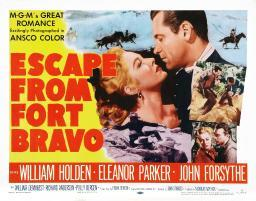 Escape From Fort Bravo Us Poster Art Top From Left: Eleanor Parker William Holden; Bottom Right Inset: Eleanor Parker John Forsythe 1953. Movie Poster Masterprint EVCMCDESFREC043HLARGE