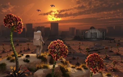 The lone figure of an astronaut explorer stands out in an alien landscape Poster Print NY32UGUVWDN7DVLA