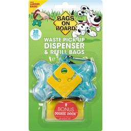 Bags On Board 3203940017 Turquoise Bags On Board Waste Pick-Up Dispenser And Refill Bags With Dookie Dock 30 Bags Turq