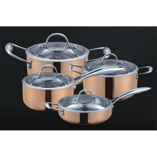 Fancy Cook 5-ply Copper 8 Pieces Cookware Set with Tempered Glass Lid