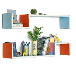 Lollipop LoveS-Shaped Leather Wall Shelf / Bookshelf / Floating Shelf Set of 2
