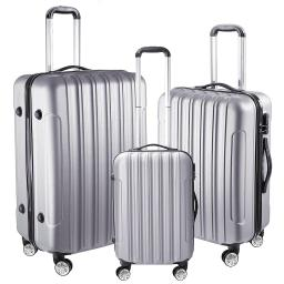 "3 Piece Luggage Set 20"" 24"" 28"" Silver Rolling Travel Case Lockable ABS Suitcase Trip"