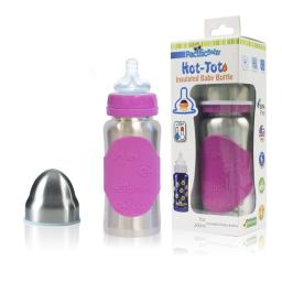Pacific Baby 221 7 oz Hot-Tot Insulated Baby Bottle, Silver Pink