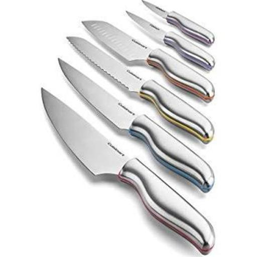 Conair Cuisinart C77-12PCS Chef Color Band Knife Set with Blade, Silver - 12 Piece