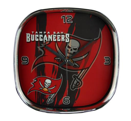 NFL Tampa Bay Buccaneers Glass Face Wall Clock Chrome Finished Frame
