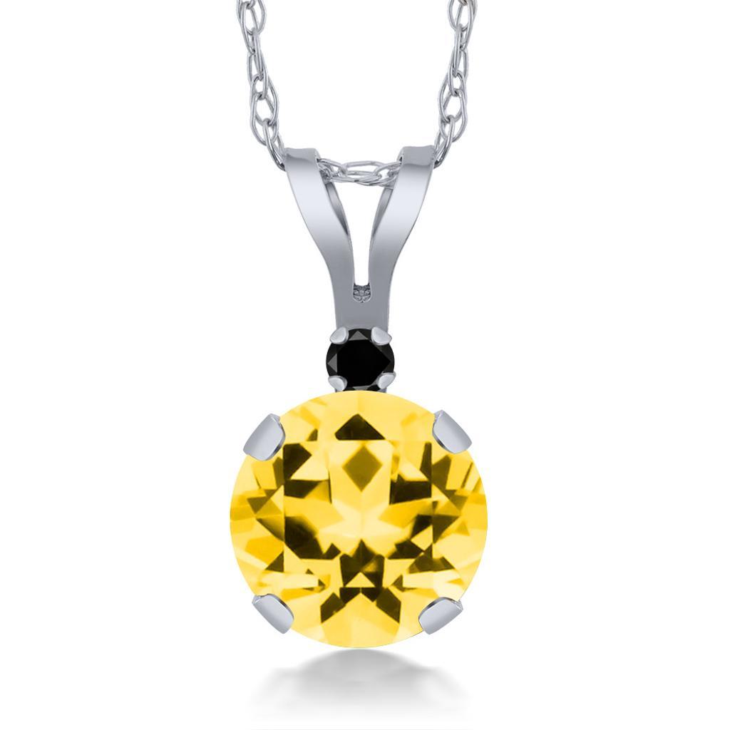 14K White Gold Diamond Pendant Set with Round Honey Topaz from Swarovski