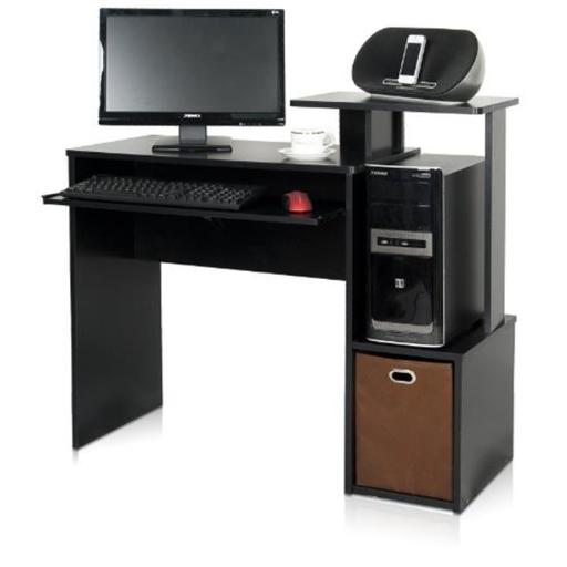 Furinno Econ Multipurpose Home Office Computer Writing Desk with Bin, Black & Brown - 34.1 x 39.4 x 15.75 in.