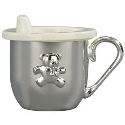 Creative Gifts International 020905 2.25 in. Baby Cup with Sipper Lid, Silver Plated