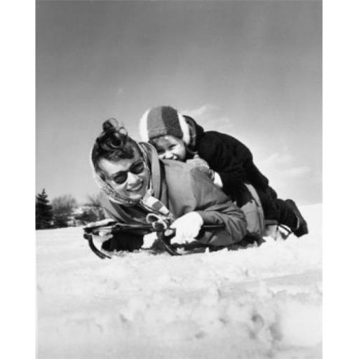 Posterazzi SAL2556000 Mother & Her Daughter Riding on a Sled Poster Print - 18 x 24 in.