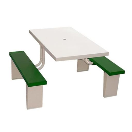 Prairie View PIC2848-G 4 Seats Aluminum Rectangular Picnic Table, Green - 30 x 28.5 x 48 in.