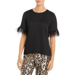 Vince Camuto Womens Feather Trim Elbow Sleeve Blouse